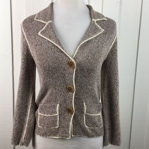 Anthropologie Maple Sweater Jacket Brown Marled